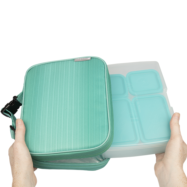 insulated lunch sleeve with bento box set turquoise. Black Bedroom Furniture Sets. Home Design Ideas