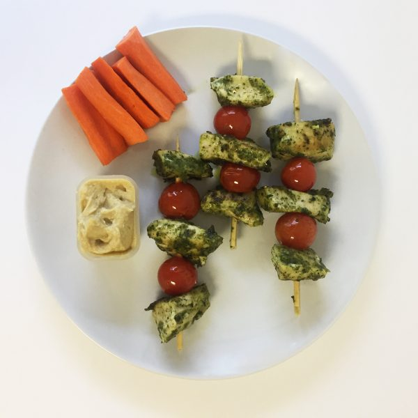 pesto chicken and tomato kebabs